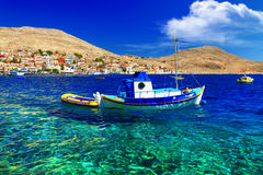 Emerald sea of Greek islands Stock Photos