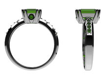 Emerald silver ring - two views Stock Images