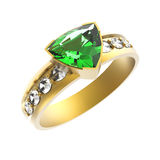 Emerald solitaire engagement ring Stock Image