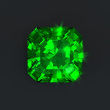 Emerald square cut green diamond isolated Royalty Free Stock Photo