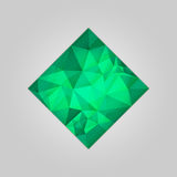 Emerald square shape. Abstract emerald square shape filled shades of green color and isolated on gray background Stock Photography