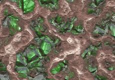 Emerald Stone Vein. Buried in Earth and Stone Royalty Free Stock Images
