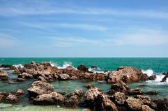 Emerald tropical sea in Prachuap Khiri Khan province of Thailand. royalty free stock photos