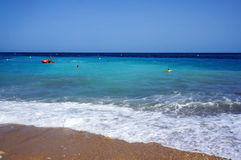 Emerald water bay. At beach near Altea town in Spain stock photos