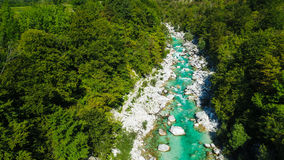 Emerald waters of Soca river, are the rafting paradise Royalty Free Stock Images