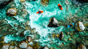 Emerald waters of Soca river, are the rafting paradise Stock Photos
