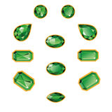 Emeralds Set Isolated Objects. Emeralds set different cut - round, drop, pear, oval, octagon and race. Green shiny three-dimensional jewelry on a white Stock Image