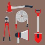 A emergência do equipamento de proteção contra incêndios utiliza ferramentas a ilustração segura do vetor da proteção do acidente ilustração stock