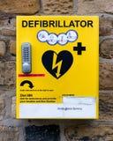 Emergancy defibrillator  located in Yorkshire markrt town Stock Photos