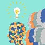 The emergence of ideas, the mosaic head of man, illumination Royalty Free Stock Photo