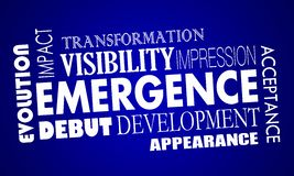 Emergence New Development Appearance Acceptance Words Royalty Free Stock Photo