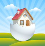 Emergence of new house in countryside. Royalty Free Stock Photo