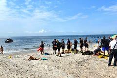 Emergencia en el taladro de Nueva York los E.E.U.U. de la playa imagen de archivo
