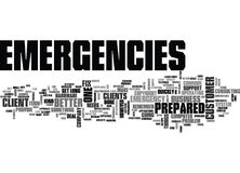 It Emergencies Be Prepared Word Cloud Concept. It Emergencies Be Prepared Text Background Word Cloud Concept Stock Image