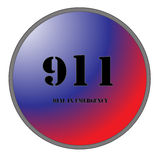 911 for Emergencies. A Big 911 Button for Emergencies isolated on white background Stock Image