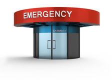 Emergency. Sign in hospital. Isolated white background Stock Photography