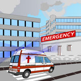 Emergency. Ambulance with flashing lights in the race to the emergency room Royalty Free Stock Photography