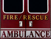 Emergency. Ambulance doors for fire rescue theme Royalty Free Stock Images