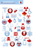 Emergency. Collection of 40 medical themed icons and warning-signs Royalty Free Stock Photo
