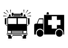 Emergency. A ambulance and a fire engine in a white background Royalty Free Stock Photography