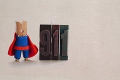 Emergency abstract man. Superhero clothespin Stock Photos