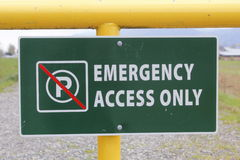 Emergency Access Only Signage Royalty Free Stock Image