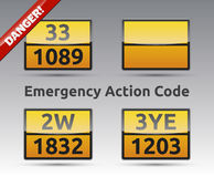 Emergency Action Code. Danger liquid sign collection with reflection and shadow Stock Photography