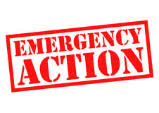 EMERGENCY ACTION. Red Rubber Stamp over a white background Royalty Free Stock Images