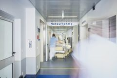 Emergency admission entrance sign hospital doctor bed royalty free stock photos