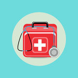 Emergency aid case and stethoscope flat design. Icon Royalty Free Stock Photos