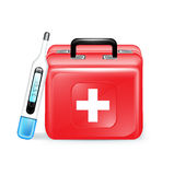 Emergency aid case and thermometer. Isolated Royalty Free Stock Photo