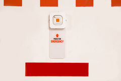 Emergency alarm panic button at car park complex for security. Alert and crime control stock photos