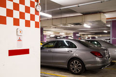 Emergency alarm panic button at car park complex for security Royalty Free Stock Photos
