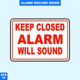 Emergency alarm and security alert signs in vector style version, easy to use and print. Sign and symbol for office and factory worker, attention the rule Stock Photo