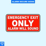 Emergency alarm and security alert signs in vector style version, easy to use and print. Sign and symbol for office and factory worker, attention the rule Royalty Free Stock Photos