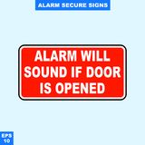 Emergency alarm and security alert signs in vector style version, easy to use and print. Sign and symbol for office and factory worker, attention the rule Stock Image
