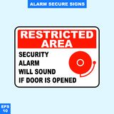Emergency alarm and security alert signs in vector style version, easy to use and print. Sign and symbol for office and factory worker, attention the rule Royalty Free Stock Images