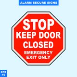Emergency alarm and security alert signs in vector style version, easy to use and print. Sign and symbol for office and factory worker, attention the rule Stock Photography
