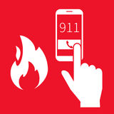Emergency alert. Emergency fire alert via telephone. Illustration on red background Stock Photography
