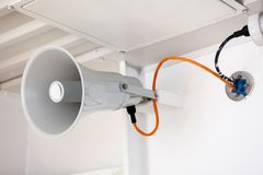 Emergency alert system siren is on deck cruise ship. Emergency alert system siren is on deck cruise boat stock image