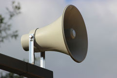Emergency Alert System Siren. Outdoor Warning Siren System at the beach stock photos