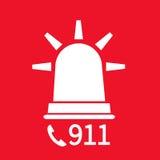 Emergency alert. Via telephone. Illustration on red background Stock Photo
