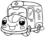 Emergency ambulance car coloring pages Royalty Free Stock Image