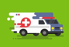 Emergency ambulance car in flat style. Royalty Free Stock Photography