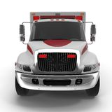 Emergency ambulance car isolated on white. Front view. 3D Illustration Royalty Free Stock Image