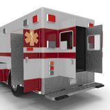 Emergency ambulance car with opened dors isolated on white. Rear view. 3D Illustration Stock Image