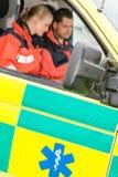 Emergency ambulance car paramedics sitting  work Royalty Free Stock Images