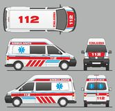 Emergency Ambulance Car Transporter Mini Bus Design. Isolated draw scale 1:10 in CDR Format Royalty Free Stock Images