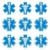 Emergency ambulance medicine symbols set. Stock Photos