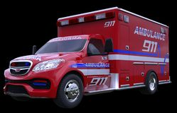 Emergency: ambulance vehicle isolated on black. All custom made and CG rendered Stock Photos